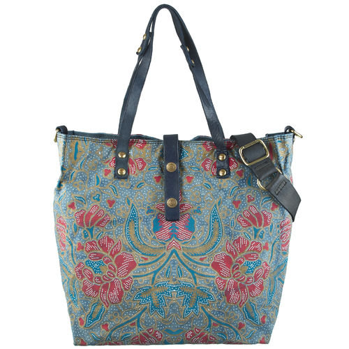 Campomaggi Shopper Canvas flower blau